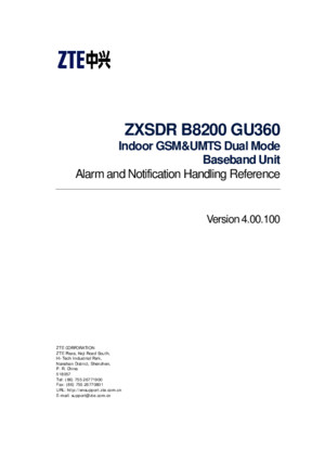 ZXSDR B8200 GU360 (V400100) Notification Handling Reference