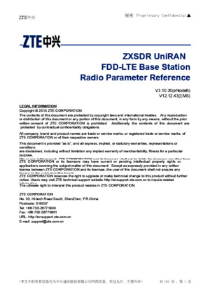 ZXSDR UniRAN (V31020) FDD-LTE Base Station Radio Parameter Reference