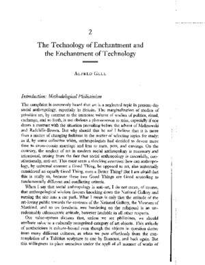 Alfred Gell - The Technology of Enchantment and the Enchantment of Technology