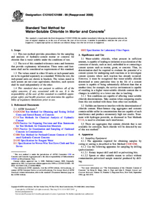 ASTM C1218 Standard Test Method for Water-Soluble Chloride in Mortar and Concrete