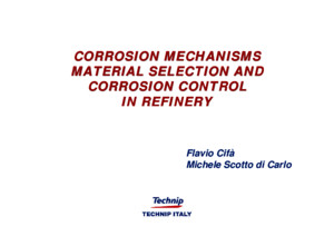 Corrosion Mechanisms - Material Selection and Corrosion Control (Technip Italy)