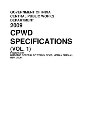 CPWD specification vol 1