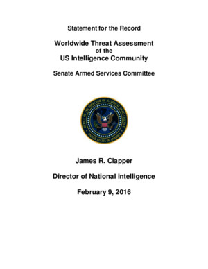 DNI James Clapper Opening Statement on the Worldwide Threat Assessment Before the SASC