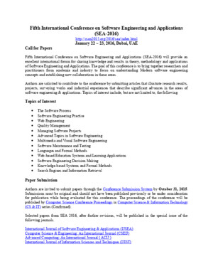 Fifth International Conference on Software Engineering and Applications (SEA 2016)
