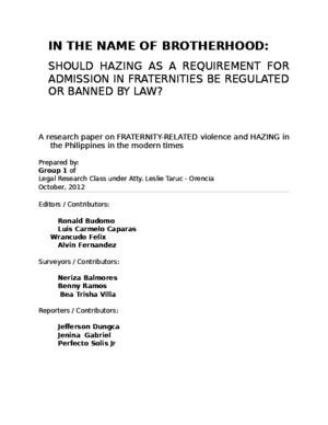 Group 1 Legal Research on Hazing