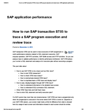 How to Run SAP Transaction ST05 to Trace a SAP Program Execution and Review Trace _ SAP Application Performance