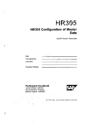 HR305 - Configuration of Master Data