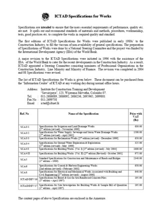 ICTAD Specifications for Works