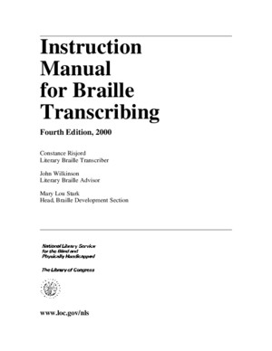 Instruction Manual for Braille Transcribing (Fourth Edition, 2000)