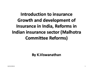 Introduction to Insurance - PPT 07-09-10