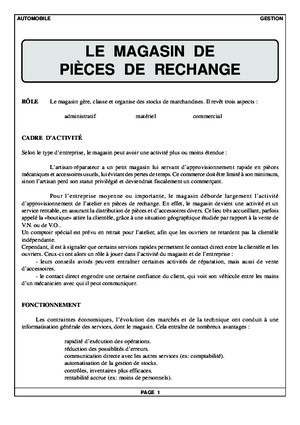 Le Magasin de Pieces de Rechange