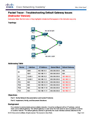 6434 Packet Tracer - Troubleshooting Default Gateway Issues Instructions IG