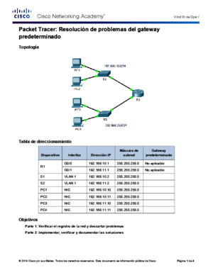 6434 Packet Tracer - Troubleshooting Default Gateway Issues Instructions