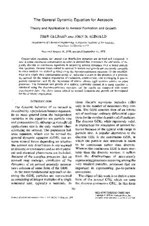 79 the General Dynamic Equation for Aerosols Theory and Application to Aerosol Formation and Growth