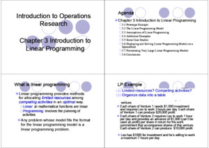 Operational Research CH 1 Hillier Print out ppt