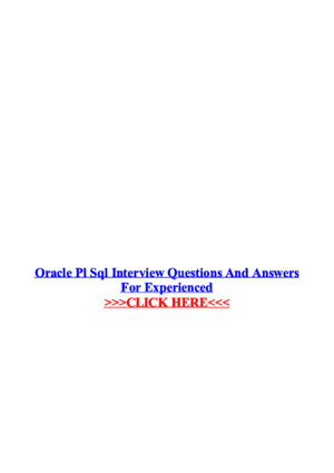 Oracle Pl SQL Interview Questions and Answers for Experienced