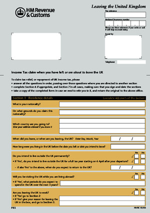 p85 Form - Hmrc - Leaving the Uk
