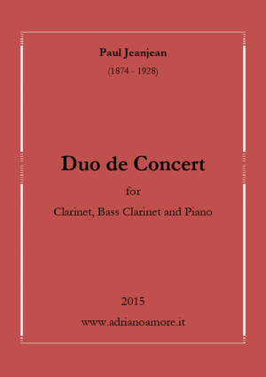 Paul Jeanjean: Duo de Concert for Clarinet, Bass Clarinet and Piano