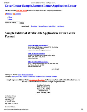 Sample Editorial Writer Job Application Cover Letter Format _ Cover Letter Sample,Resume Letter,Application Letter