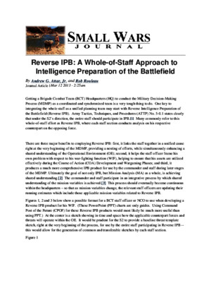 Small Wars Journal - Reverse IPB- A Whole-Of-Staff Approach to Intelligence Preparation of the Battlefield - 2013-03-12