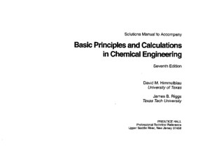 Solution Manual Basic Principles Calculations in Chemical Engineering 7th Ed
