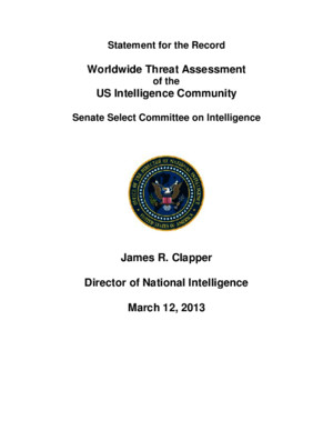 Statement for the Record - Worldwide Threat Assessment of the US Intelligence Community