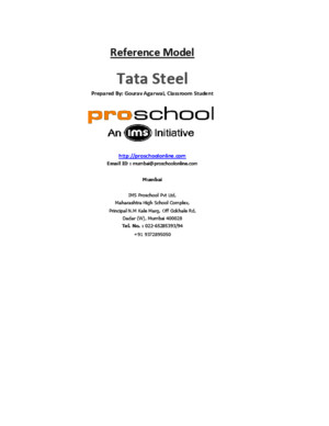 Tata Steel Reference Spreadsheet