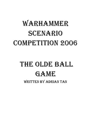 Warhammer Fantasy Roleplay - Scenario - The Olde Ball Game